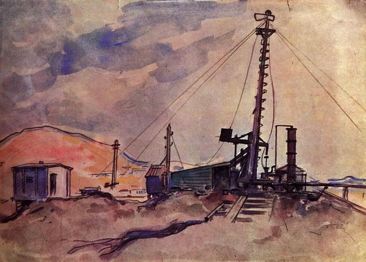 Баку и нефтепромыслы в работах живописца Алексея Куприна (ФОТО)