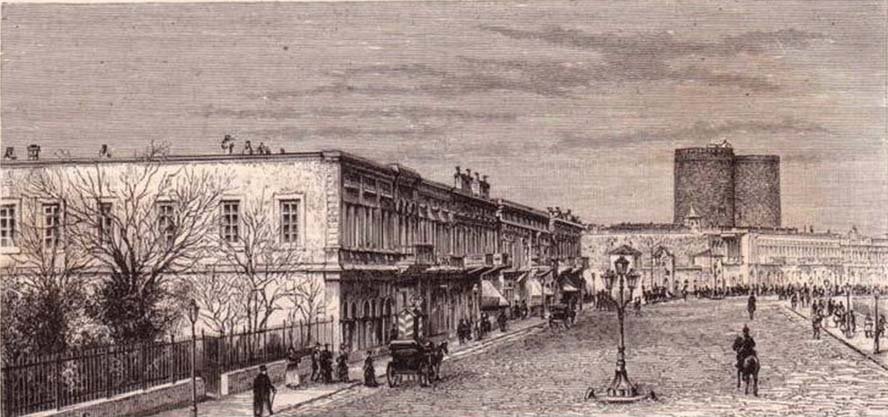 Губернаторский сад со стороны набережной, литография начала 1880-х годов