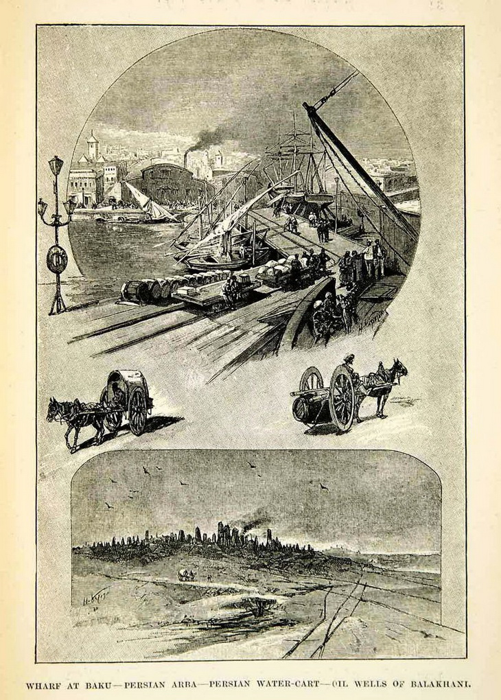 Иллюстрация из европейского журнала 1880-х годов, в нижней части которой - Балаханские нефтепромыслы с фонтанирующей скважиной