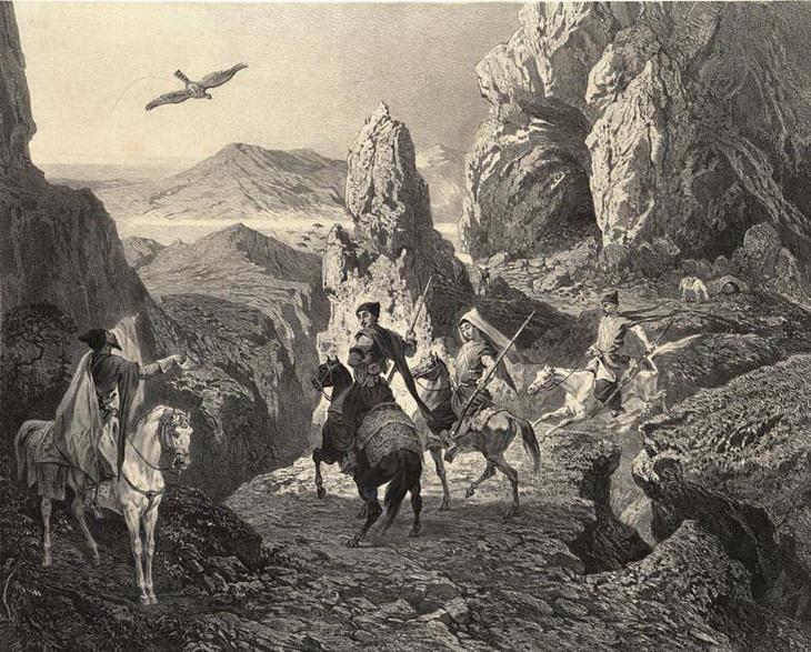 1840-1853. Соколиная охота в окресностях Эривани