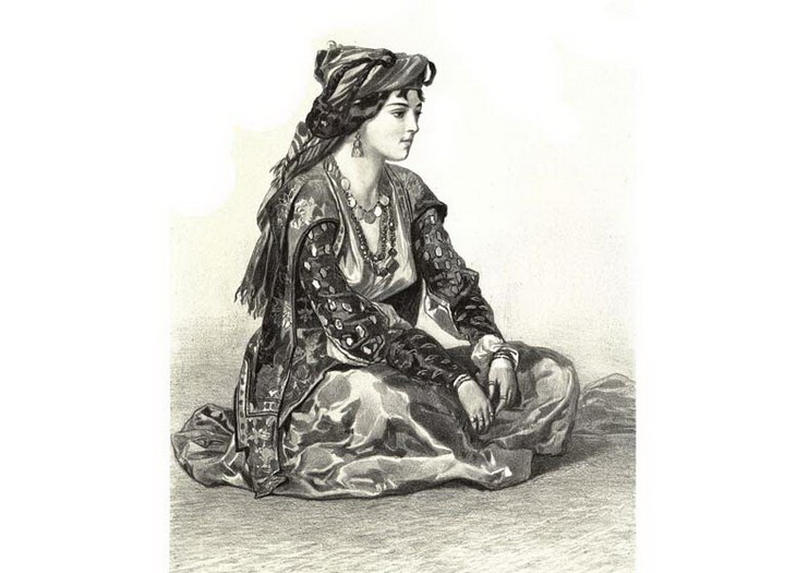1842-1853. Бакинка в национальной одежде