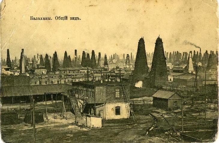 Фото 1900 года. Жилые дома в Балаханах - в те времена жили там, где работали