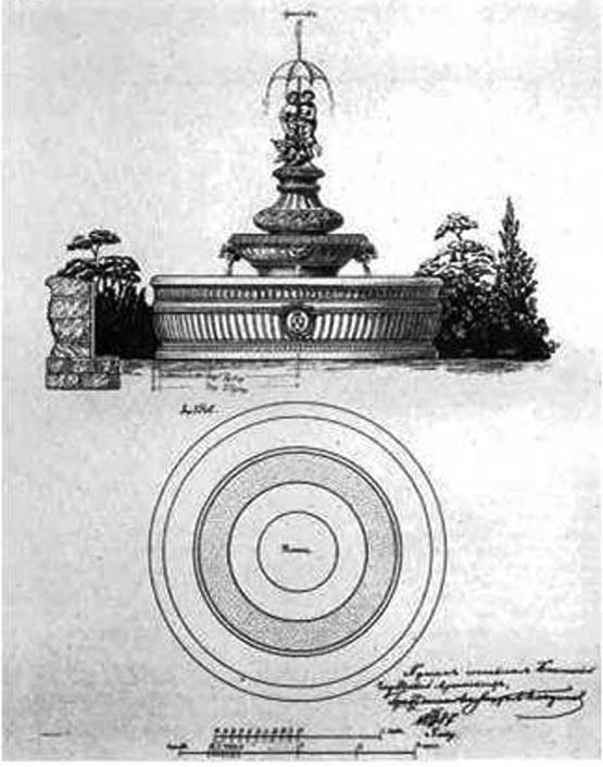 1887 год. Проект фонтана в Губернаторском саду. Гражданский инженер А. Кандинов