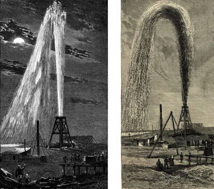 Иллюстрации, опубликованные в европейских журналах на основе снимков балаханских фонтанов 1880-х годов
